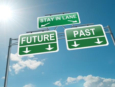 Ilustración que muestra una señal en la carretera de pórtico con un concepto de pasado o futuro. Cielo azul de fondo.