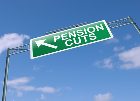 Illustration depicting a highway gantry sign with a pension cuts concept  Blue sky background  illustration