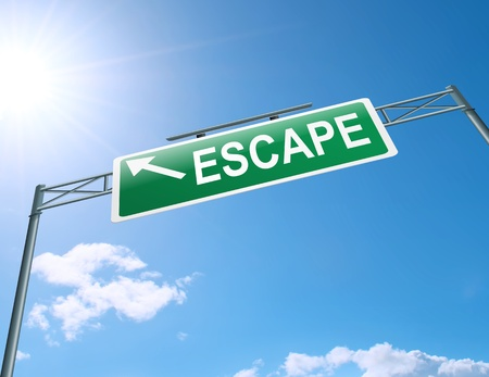 escape route: Illustration depicting a highway gantry sign with an escape concept  Blue sky background  Stock Photo