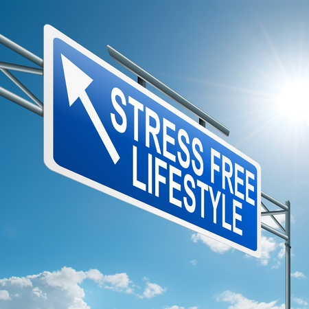 stress free: Illustration depicting a highway gantry sign with a stress free concept  Blue sky background