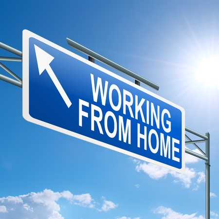 self communication: Illustration depicting a highway gantry sign with a working from home concept  Blue sky background