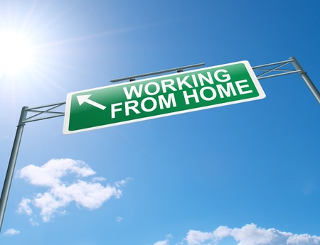 depicting: Illustration depicting a highway gantry sign with a working from home concept  Blue sky background