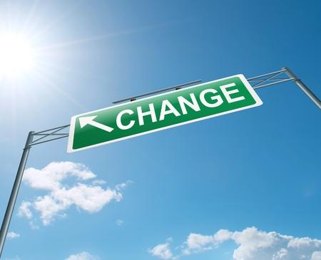 Illustration depicting a highway gantry sign with a change concept  Blue sky background Stock Illustration - 14289900