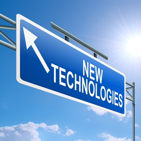 technology metaphor: Illustration depicting a highway gantry sign with a new technologies concept  Blue sky background  Stock Photo