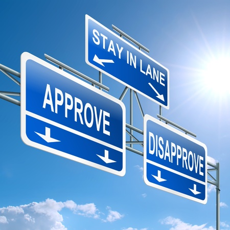 disapprove: Illustration depicting a highway gantry sign with a approve or disapprove concept  Blue sky background  Stock Photo