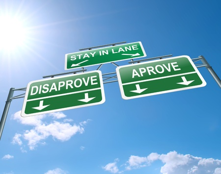 disapproval: Illustration depicting a highway gantry sign with a approve or disapprove concept  Blue sky background  Stock Photo
