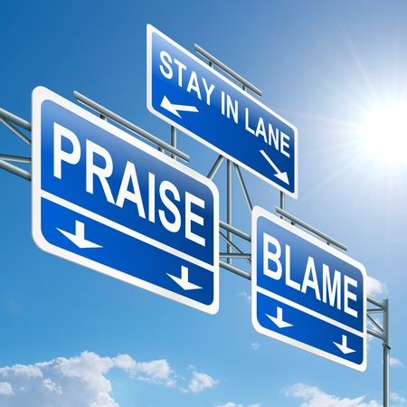 shame: Illustration depicting a highway gantry sign with a praise or blame concept  Blue sky background