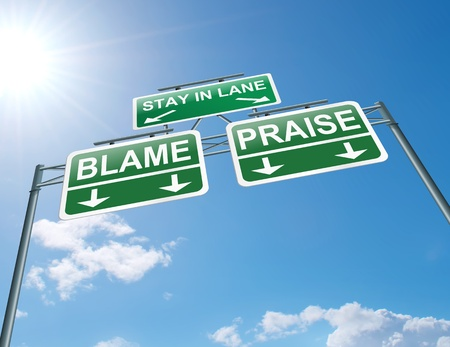 fault: Illustration depicting a highway gantry sign with a praise or blame concept  Blue sky background