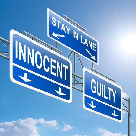 litigation: Illustration depicting a highway gantry sign with a innocent or guilty concept  Blue sky background  Stock Photo