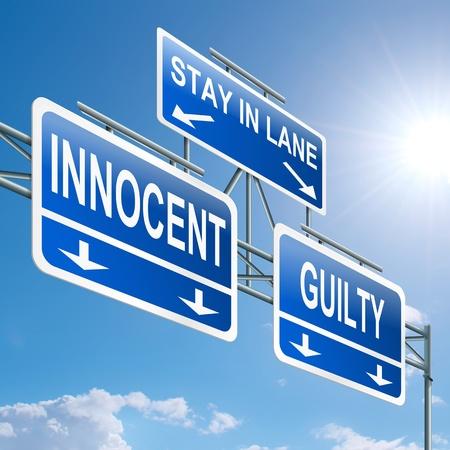 derecho penal: Ilustración que muestra una señal en la carretera de pórtico con un concepto de fondo de cielo azul inocente o culpable