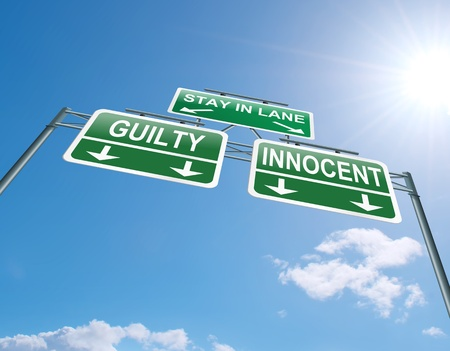 prosecution: Illustration depicting a highway gantry sign with a innocent or guilty concept  Blue sky background  Stock Photo