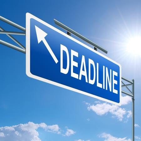 Illustration depicting a highway gantry sign with a deadline concept  Blue sky background  Stock Illustration - 14368878
