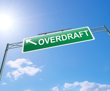 overdraft: Illustration depicting a highway gantry sign with an overdraft concept  Blue sky background