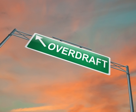 overdraft: Illustration depicting a highway gantry sign with an overdraft concept  Sunset sky background