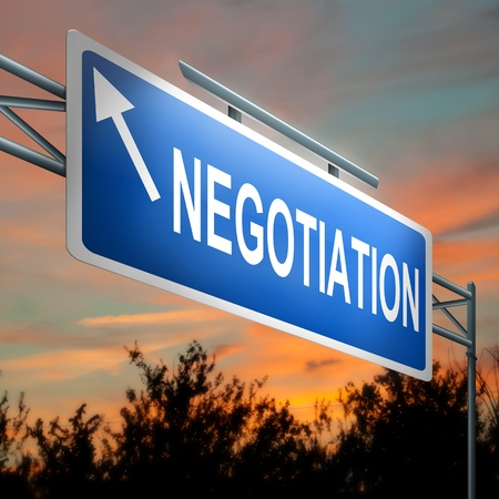 negotiating: Illustration depicting a highway gantry sign with a negotiation concept  Sunset sky background
