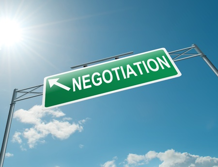 negotiate: Illustration depicting a highway gantry sign with a negotiation concept  Blue sky background  Stock Photo