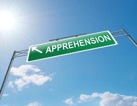 Illustration depicting a highway gantry sign with an apprehension concept  Blue sky background  Stock Illustration - 14415710