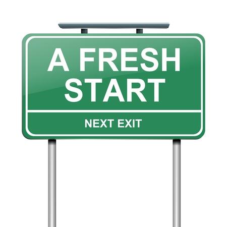 frisse start: Illustratie geeft een groen bord met een frisse start begrip Witte achtergrond