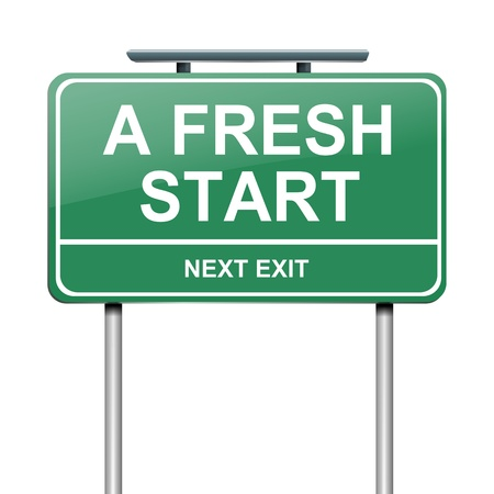 new start: Illustration depicting a green roadsign with a fresh start concept  White background