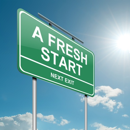 new start: Illustration depicting a green roadsign with a fresh start concept  Blue sky background