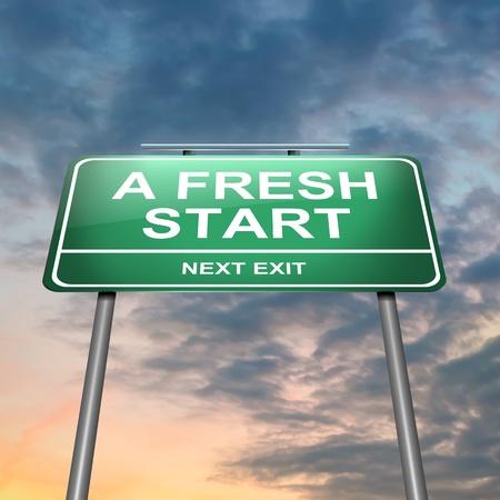 frisse start: Illustratie geeft een verlicht groen bord met een frisse start begrip Sunset hemel achtergrond