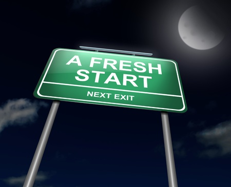 fresh start: Illustration depicting an illuminated green roadsign with a fresh start concept  Night sky background