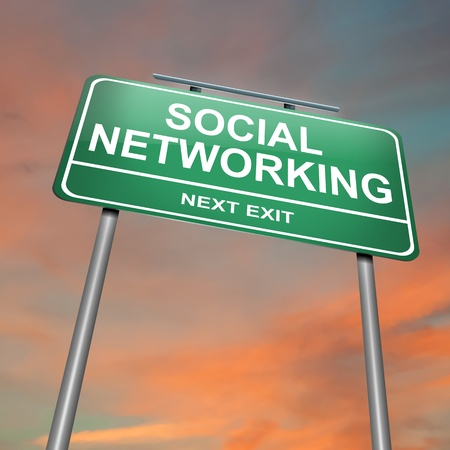 blue network: Illustration depicting a green roadsign with a social networking concept  Sunset sky background