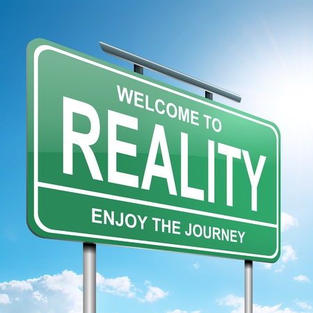 authenticity: Illustration depicting a green roadsign with a reality concept. Blue sky background.