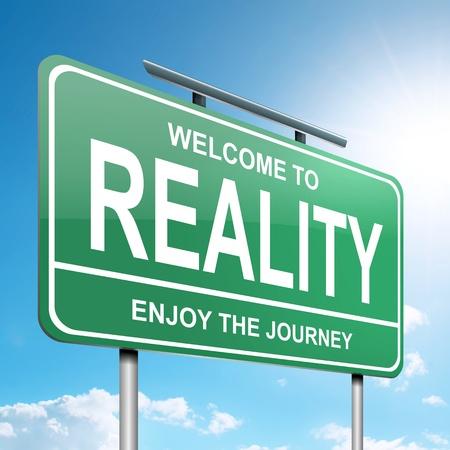 actuality: Illustrazione raffigurante un cartello verde con un concetto di realt�. Sfondo blu cielo. Archivio Fotografico