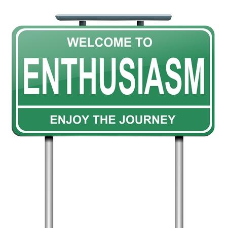 Ilustración que representa a un roadsign verde con un concepto de entusiasmo. Fondo blanco.