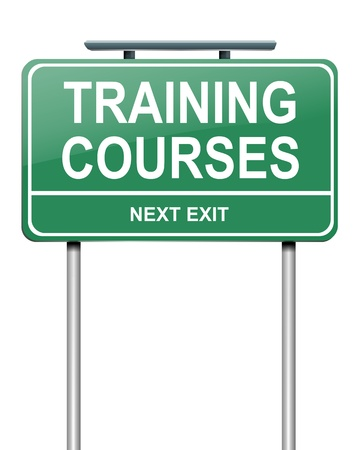 classroom training: Illustration depicting a green roadsign with a training courses concept. White background. Stock Photo