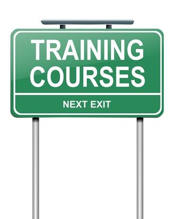 Ilustración que muestra un letrero verde con un concepto de cursos de formación. Blanco fondo.
