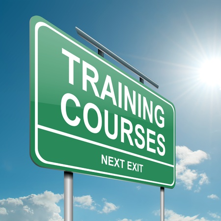 new development: Illustration depicting a green roadsign with a training courses concept. Blue sky background.