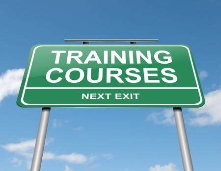 Illustration depicting a green roadsign with a training courses concept  Blue sky background  illustration