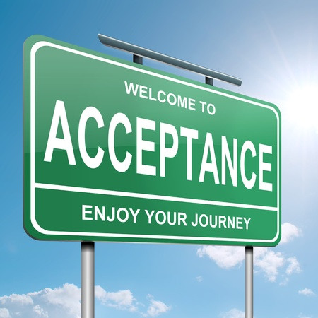 accept: Illustration depicting a green roadsign with an acceptance concept  Blue sky background