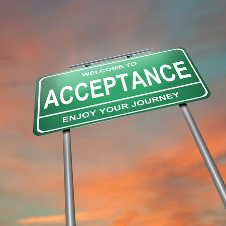 acceptance: Illustration depicting an illuminated green roadsign with an acceptance start concept  Sunset sky background