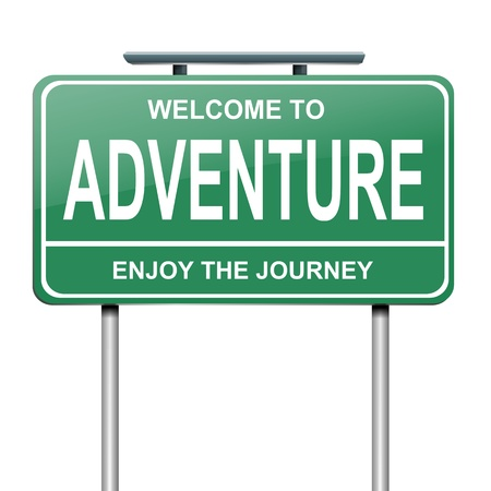 directions: Illustration depicting a green roadsign with an adventure concept  White background