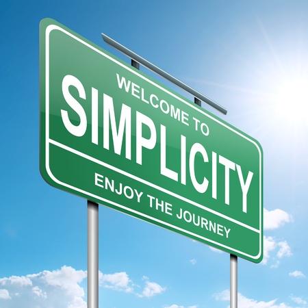 humildad: Ilustraci�n que muestra un letrero verde con un fondo azul cielo concepto de la simplicidad