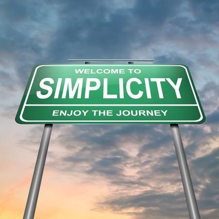 simplicity: Ilustración que representa un roadsign verde iluminada con un fondo de concepto de la simplicidad cielo del atardecer