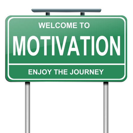 Illustration depicting a green roadsign with a motivation concept. White background.