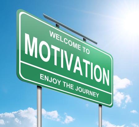 pensamiento estrategico: Ilustración que muestra un letrero verde con un concepto de la motivación. Cielo azul de fondo.