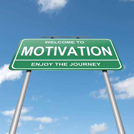 Illustration depicting a green roadsign with a motivation concept. Blue sky background. Stock Illustration - 14511499