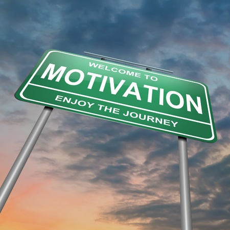 pensamiento estrategico: Ilustración que muestra un letrero verde con un concepto de la motivación. Puesta del sol el cielo de fondo. Foto de archivo