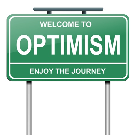 optimismo: Ilustración que muestra un letrero verde con un concepto optimista. Blanco fondo. Foto de archivo