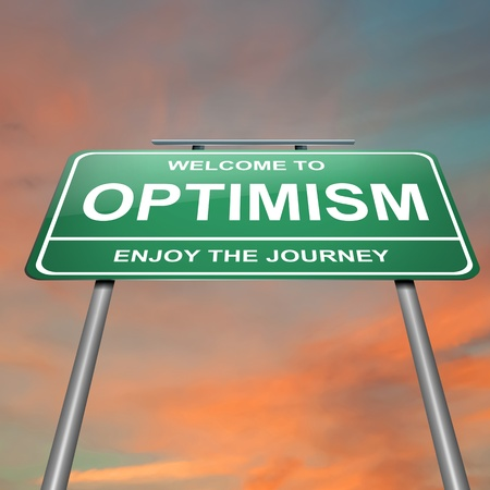 optimismo: Ilustración que muestra un letrero verde con un concepto optimista. Puesta del sol el cielo de fondo.
