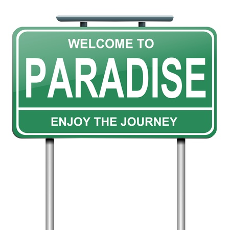 nirvana: Illustration depicting a green roadsign with a paradise concept. White background.