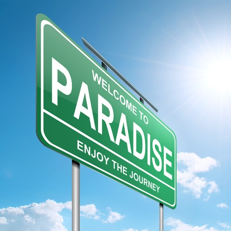 Illustration depicting a green roadsign with a paradise concept. Blue sky  background. Stock Illustration - 14511496