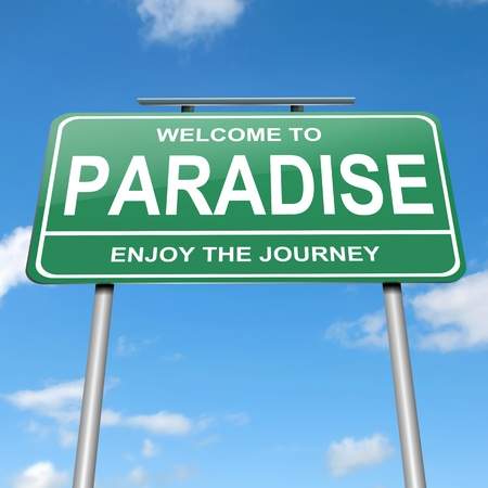 calming: Illustration depicting a green roadsign with a paradise concept. Blue sky  background.