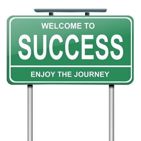 Illustration représentant un panneau routier vert avec un concept de succès. Fond blanc.