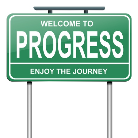 Illustration depicting a green roadsign with a progress concept. White background. illustration